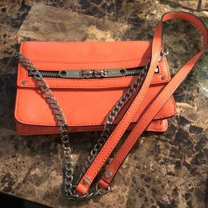 Milly tangerine crossbody with silver hardware